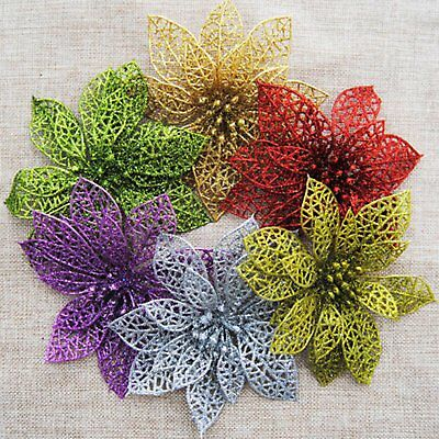 "10pcs 6"" Christmas Flowers Xmas Tree Decorations Glitter Hollow Wedding Party"