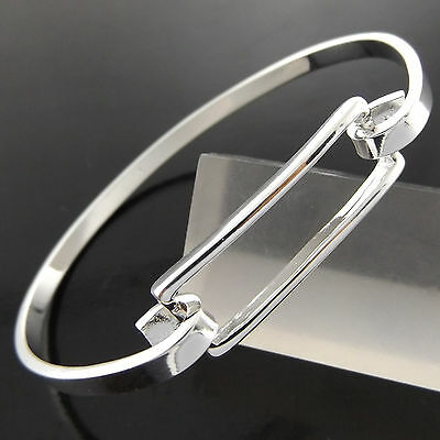 A217 Genuine Real 925 Sterling Silver S/f Solid Ladies Cuff Bangle Bracelet