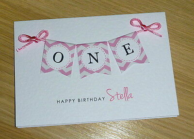 Boys Girls 1st Birthday Card - ONE - first pink blue green purple personalised!