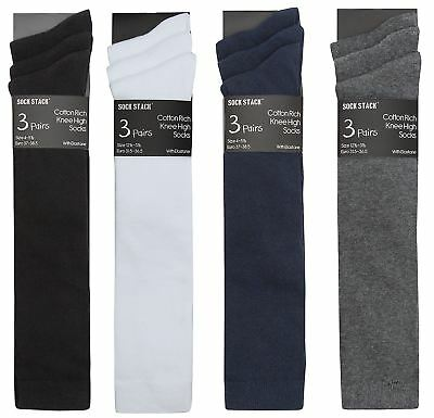 6 Pairs Boys Girls Childrens Knee High Thicker Weight Cotton Long School Socks