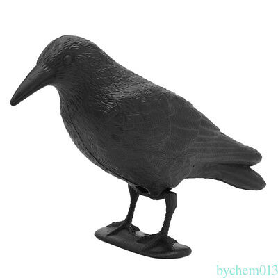 1* Practical Plastic Crow Decoy Hunting Full Body Stand Bodied Jackdaw Bird DC