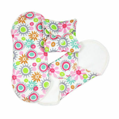 ImseVimse Washable Organic Cotton Regular Pads - Pack of 3 - Flowers