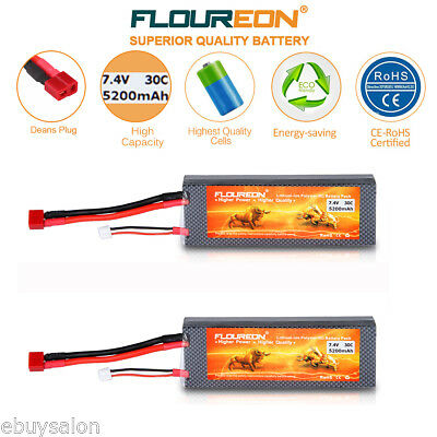 2x 5200mAh 2S 7.4V 30C LiPo Battery Deans for RC Helicopter Airplane Truck Hobby