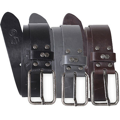Crosshatch Mens Chucker Designer Branded Embossed PU Leather Metal Buckle Belt