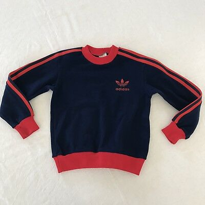 Vintage 70s Kids ADIDAS TREFOIL TRACKSUIT TOP jumper sweatshirt NAVY RED 6-7 Y