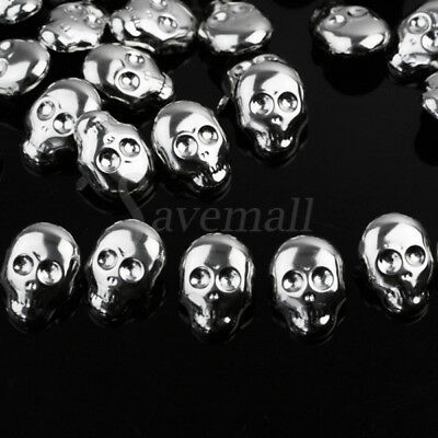 30x Skull Shape Spots Spikes Studs Alloy Punk Rock Leather Craft Shoes 22x16mm