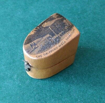 Mauchline Ware Sloping Thimble Box with print of The Dripping Well, Fairlight.