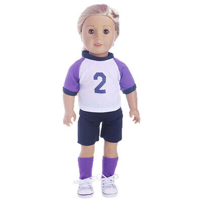 New Purple Sports Uniform Top Pants Socks Outfit for 18'' American Girl Doll
