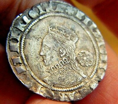 High Grade 1574 Elizabeth 1St Silver Sixpence Mm Eglantine,rose Beside Bust (5)