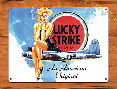 "TIN SIGN ""Lucky Strike""  Pin Up Airplane Cigarette Vintage Garage Decor"