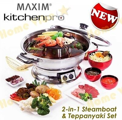 New Maxim Kitchenpro 2000W Electric Steamboat Hot Pot And Teppanyaki Set Rrp$139