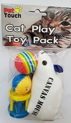 4 In 1 Cat Kitten Play Set Balls Soft Plush Mouse Mice Cage Bell Toy Fetch Xmas