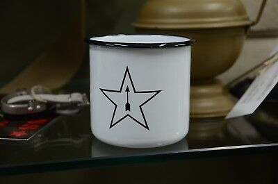Original Russian Metal Enameled Cup Mug, Logo Of The Tula Arms Plant