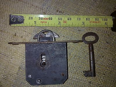 full mortice desk lock, 74 mm, round ends, antique or vintage (RTG4)