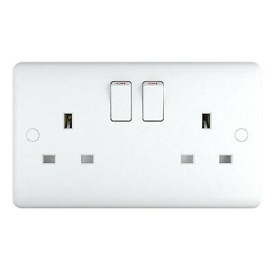 Pack of 20 - White Plastic 13a Double Plug Sockets Trade Pack