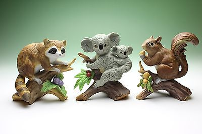 "4"" Wild Animals 3 PCS Bisque Porcelain Figurines Koala Raccoon Squirrel Japan"