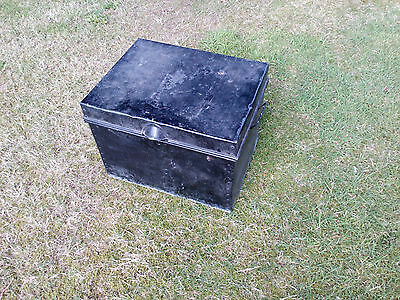 Black Steel Deed Box Good Size Very Useable Reasonable Unrestored Condition