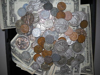 Vintage World War II United States Coin & Currency Hoard Steel Cents Silver Note