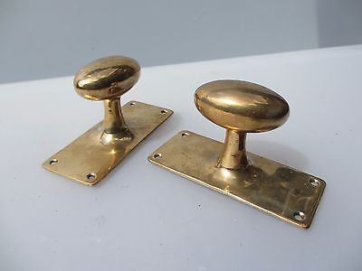 Vintage Brass Door Knobs Handles Architectural Antique Plate Old Oval Bronze