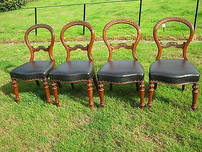 Walnut Balloon Back Dining Chairs - Victorian - Set of 4