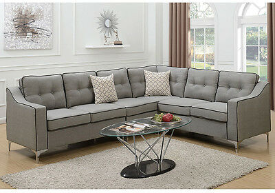 MODERN SECTIONAL SOFA L Shaped Corner Couch Tufted Back Gray Fabric Black  Border