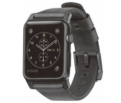 Nomad Leather Watch Strap for Apple Watch 42mm Slate Gray Black Hardware - VG