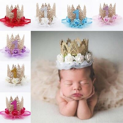 Baby Girls Boy First 1st Birthday Party Flower Crown Hat Headband Hairband FS