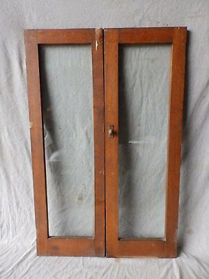 Antique Pair Casement Oak Cabinet Bookcase Pantry Door Window 44x14 387-17P