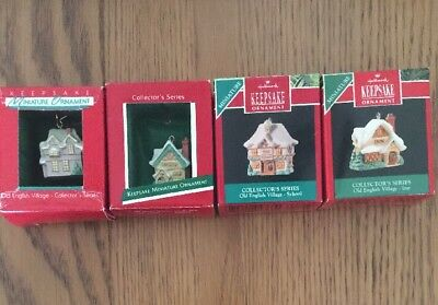 Lot 4 Miniature Old English Village Series Hallmark Keepsake Ornaments 1-4