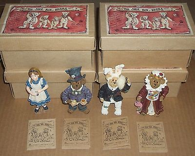 Boyds THE SHOEBOX BEARS Set of All 4 ALICE IN WONDERLAND 3236 3237 3238 3239 New
