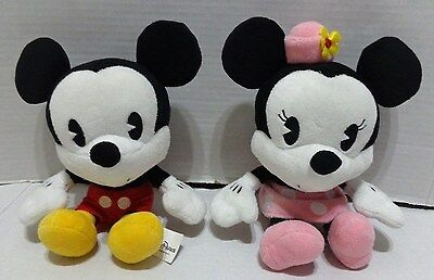"Disney Parks Classic Mickey & Minnie Mouse Black White 9"" Plush Lot of 2"