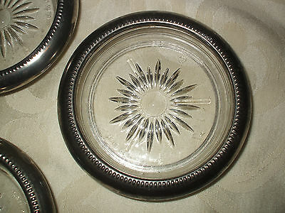 VINTAGE GLASS and SILVER COASTERS set of 3 ITALIAN MADE