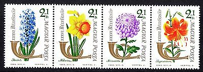 Hungary 1963 Stamp Day Flowers strip of 4 MNH