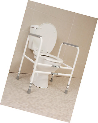 Free Standing Toilet Support Frame Width & Height Adjustable Safety Sturdy Steel