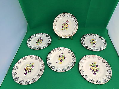 English Bone China Floral Gilded Side Plates x 6