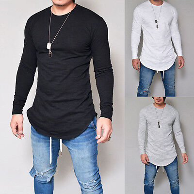 2017 New Men's Slim Fit V Neck Long Sleeve Muscle Tee T-shirt Casual Tops Blouse