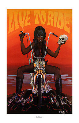 Dave Mann Ed Roth Studios Poster Print Soul Sister Motorcycle Chopper Easy Rider