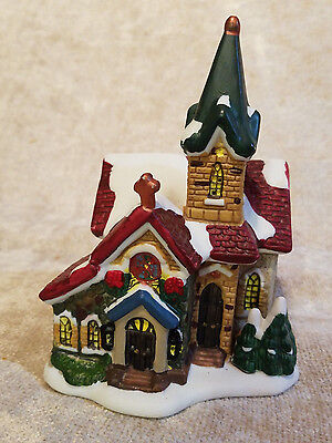 Vintage Christmas Winter Church, Pottery Style