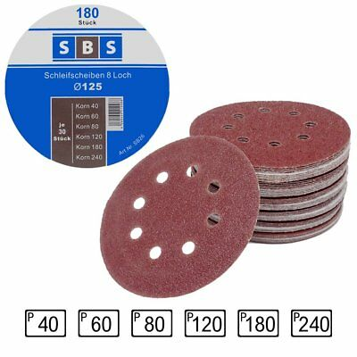 180Paper Sanding Discs Diameter 125mm Grit Each 30x 40/60/80/120/180/240for