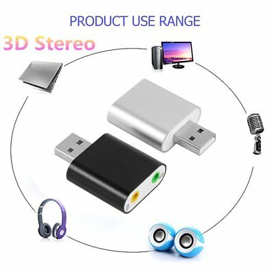 Alu Alloy 3D Stereo 7.1 Channel USB Audio Sound Adapter With Two 3.5mm Jack GT