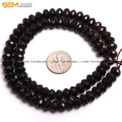 """Rondelle Faceted Smoky Quartz Spacer Beads For Jewelry Making Strand 15"""" In Lots"""