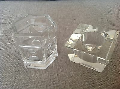 2 Rosenthal Crystal Tealight Holders - a hexagonal and square votive