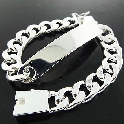 A194 Genuine Real Sterling Silver S/f Solid Mens Id Initial Cuff Bracelet Bangle