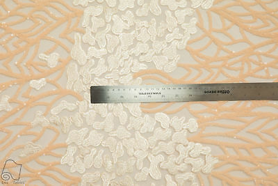 Sequin Embroidered Lace Fabric By The Yard Petals and Branches (Light Peach)