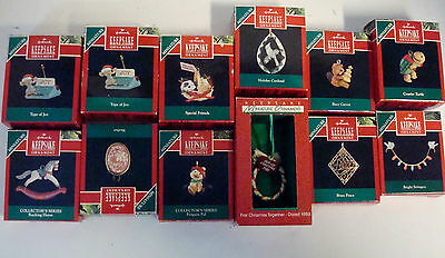 12 Hallmark Miniature Ornaments 1990's Rocking Horse Busy Carver Special Friends