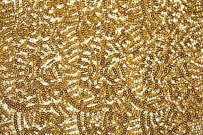 Sequin Fabric By The Yard Lace Glitz Seaweed High Full Sequins Count (Gold)