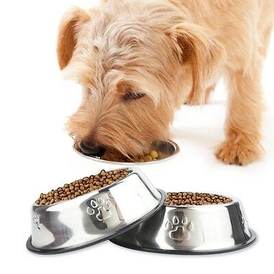 Pet Dog Stainless Steel Travel Cat Puppy Feeding Feeder Food Bowl Water Dish