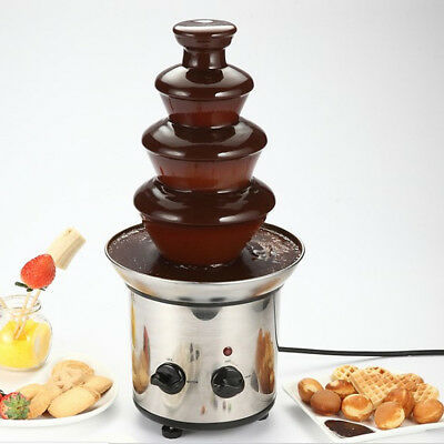 Chocolate Fondue Fountain Machine Waterfall Melting 4 Tiers Mini Stainless Steel