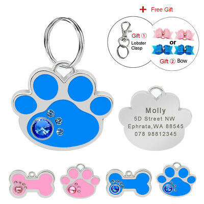 Personalised Pet Dog ID Tags Paw/Bone Shape Cat Puppy Name Collar Tags Engraved