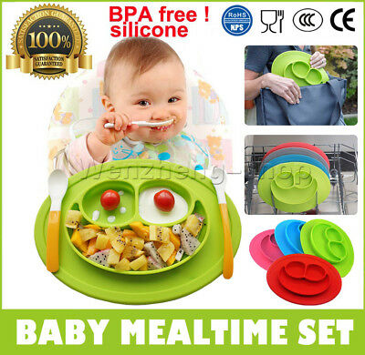 Kids Cute Silicone Happy Mat Baby Suction Table Food Tray Placemat Plate Bowl UK